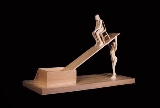 "Woman, Man and Box, 2000, pine wood, 14 x 21 3/4 x 2 1/4"""