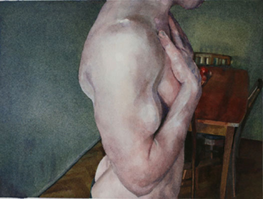 Untitled (man in dining room), 2010, watercolor, 7 3/4 x 10 3/8""