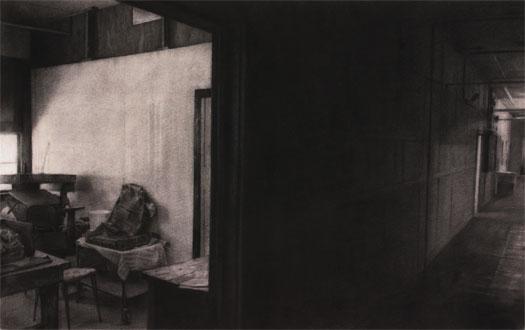 "Hallway, 2004, charcoal on paper, i.s. 24 x 38 1/2"""