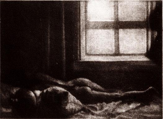 """Nude, 2002, mezzotint, i.s. 2 3/4 x 4"""""""