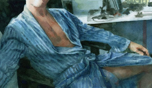 """Untitled (man in robe), 2010, watercolor, 6 1/2 x 10 7/8"""""""