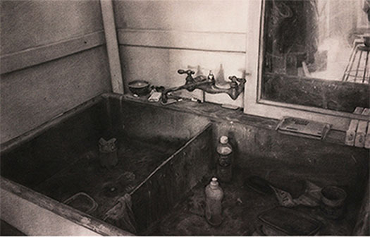 Sink, 2002, charcoal on paper, i.s. 22 1/4 x 36""