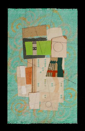 "Rite (Balance), 2012, paper, acrylic, graphite on cut canvas, vintage frame, f.s. 8 1/2 x 6 1/2"" / i.s. 5 1/2 x 3 3/8"""