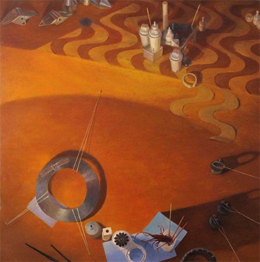 """Meridian Planum, 2008, oil on wood, 45 x 45"""""""