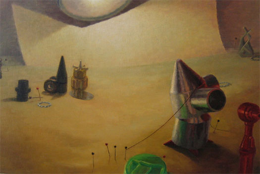 The Witches' Hour 2007 Oil on wood 13 3/4 x 20 3/4""
