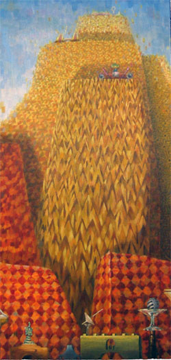 Those On the Top Take Care of Us 2004 Oil on wood 44 x 21""
