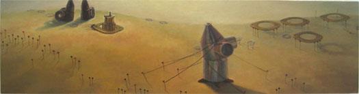 """Travesia 2007 Oil on wood 9 1/2 x 36"""""""