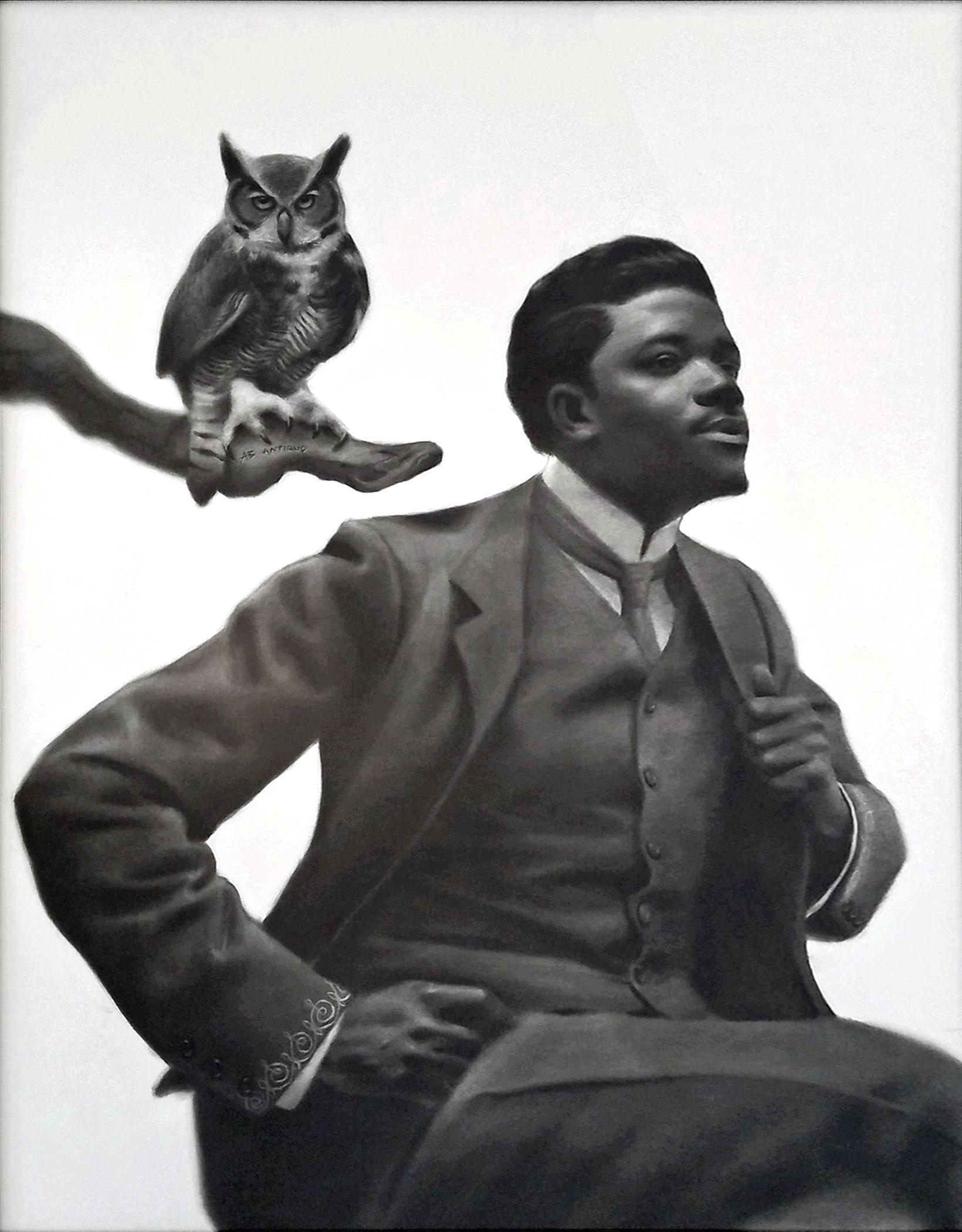 "Renaissance Man, 2019, charcoal on paper, s.s. 60 x 45"" / f.s. 61 x 46"""