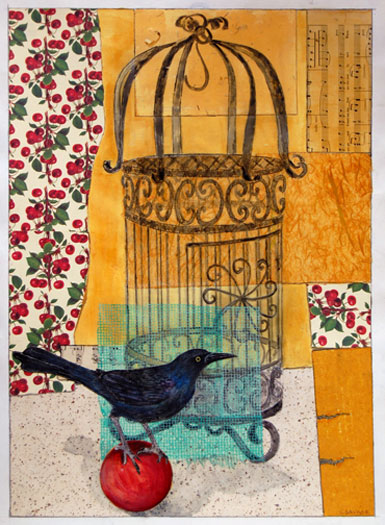 Bird on Ball, 2006, mixed media collage with intaglio, i.s. 26 1/2 x 18 1/2""