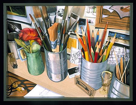"""Studio Desk: Catalog 2003 Mixed media construction 25 x 19 x 3 1/2"""""""