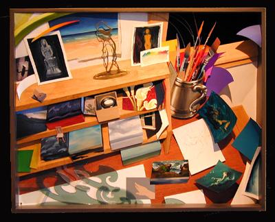 """Studio Desk: Waves 2003 Mixed media construction 25 x 31 x 5 1/2"""""""