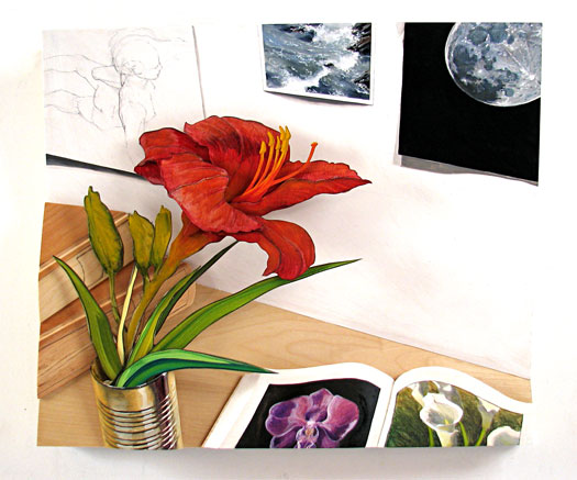Natural History 2007 oil, graphite, wood, museum board 25 x 23 x 5""