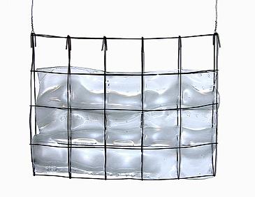 """Light Breeze, 2000, slumped glass, wire, steel, 24 x 36 x 8"""""""