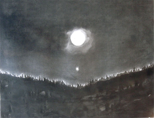Full Moon and Venus 2007 ink and charcoal I.S. 29 x 23""