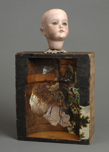 """Invisible Beings 2007 Assemblage - doll head, factory mold, book illustrations, brass ornament 17 1/2 x 10 x 4"""""""