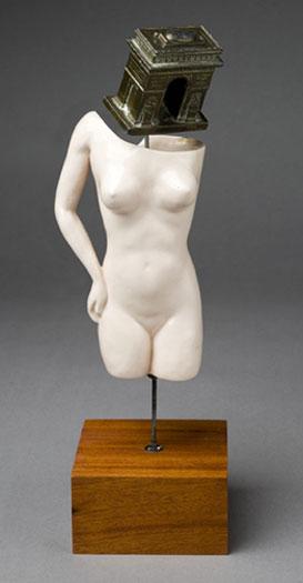 "Gyula's Yearning 2007 Assemblage - ceramic torso, cast metal souvenir replica, steel rod (on wood plinth) 14 1/2 x 5 1/2 x 5 1/2"""
