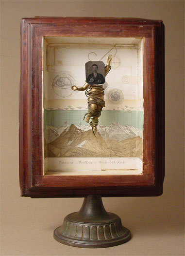 """The Vision (No. 9) 2006 Assemblage - wood column base, book illustrations, tintype photograph, plastic figurine, cord, cast iron ceiling fixture part 20 1/4 x 13 1/2 x 8"""""""