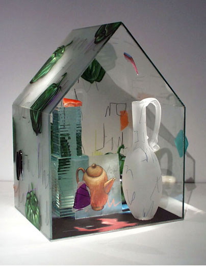 Peppers, 1999, assembled, blown, cast, and painted glass, 15 x 10 1/2 x 9""