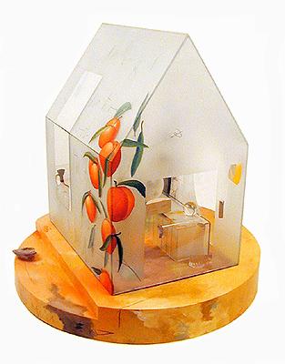 """Symmetry, 2001, glass, mixed media, 35 x 34 x 34"""""""