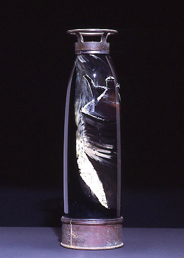 Fire Extinguisher, 2003, hand-blown glass, reverse painting, metal, 24 x 7""