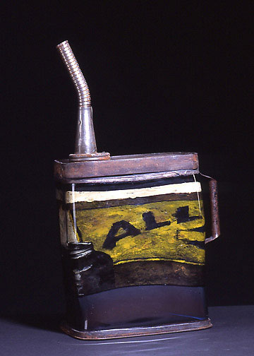 """Gas Can, 2003, hand-blown glass, reverse painting, metal, 19 x 11 x 6"""""""