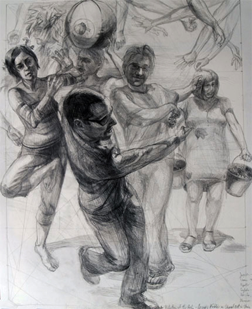 Aesop's Fable: Trees Under Protection of the Gods, 2011, graphite on paper, 21 x 17 1/2""