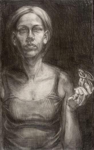 """Autoretrato y Conejito, 2005, graphite on masonite, 23 x 14"""""""