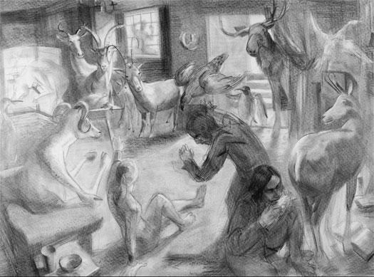 """Oxford Revolt, 2005, graphite on paper, 35 x 48"""""""