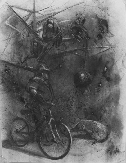 Bait, 2008, charcoal on paper, 24 x 18""