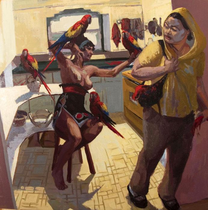 """Bird Diamond, 2009, oil on panel, 20 x 20"""""""