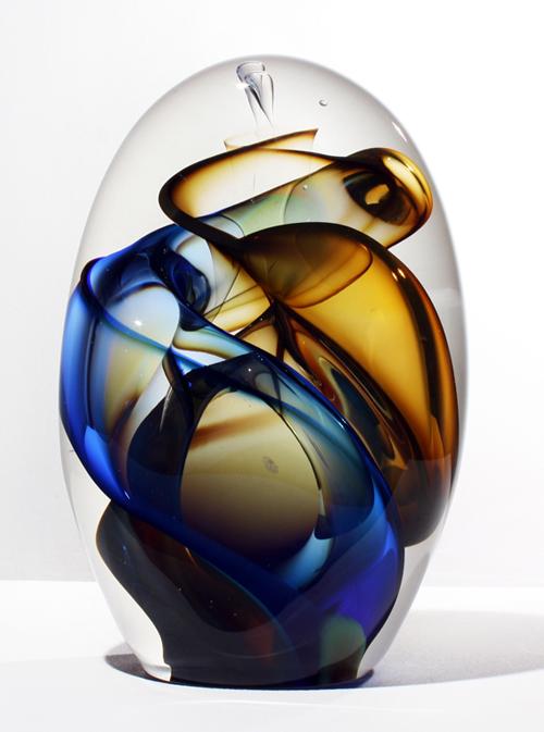 "Blue Transparent Vortex Pod, 2012, free blown glass, ground, polished, sandblasted, brush polished, 11 x 7 1/2 x 4"""