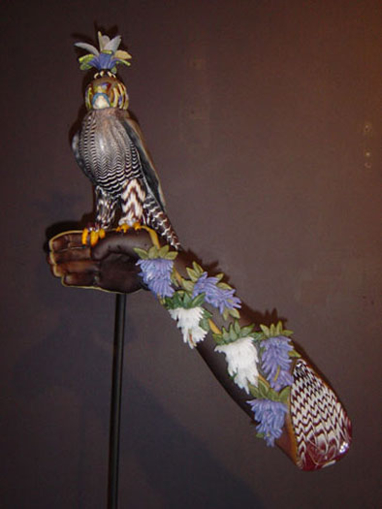 """Bamboo Wisteria Falcon, 2005, blown and sculpted glass, 25 x 14 x 9"""""""