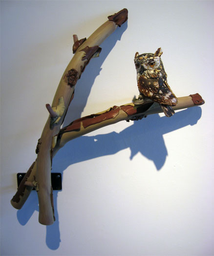 """Screech Owl in Madrona, 2009, blown, off-handed sculpted glass, 22 x 20 x 7"""""""