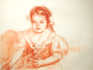 """Young Faith, 2002, conte on paper, 13 1/2 x 19 1/2"""""""