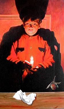"Young Haruspice with Candle, 2002, acrylic on wood panel, 47 x 28"""